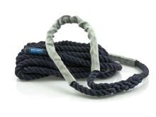 Förtöjningslinan STORM navyblå med silvergrå slithylsor