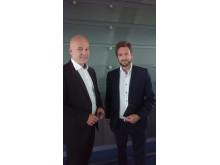 Kringkastingssjef Thor Gjermund Eriksen og markedsdirektør Bernt A. Andersen i RiksTV
