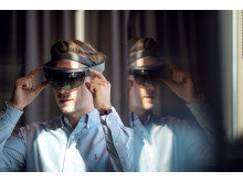 MIXED REALITY: Ved bruk av HoloLens-teknologi i bygg- og anleggsbransjen kan man «se» strukturer og løsninger før de blir bygget. Foto/illustrasjon: Sopra Steria