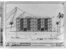 KPDs bostadsprojekt i Chile, 1971. Teckningarna kompinerar det chilienska berglandskapet med tropiska (Cuba-inspirerade) palmer. Soviet Central Research Institute for the Experimental (CNIIEP), Ignacio Egaña Archive.