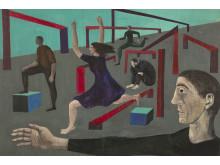 Peter Weiss, Teaterskiss, 1955, gouache på kartong.