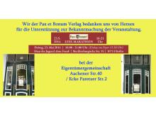 Wir der Pax et Bonum Verlag bedanken uns von Herzen bei der Eigentümergemeinschaft Aachener Str.40 / Ecke Paretzer Str.2 für die Unterstützung zur Bekanntmachung der Veranstaltung
