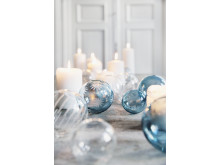 Julekule i glass med slipemønster fra Hadeland Glassverk