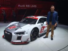 Tom K foran den nye Audi R8 LMS på Geneva Motor Show 2015