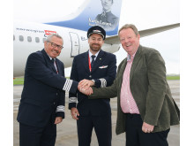 Lars Garde (Captain), Robert Bjorkholm (Co-Pilot) and Graham Keddie (MD Belfast International Airport)