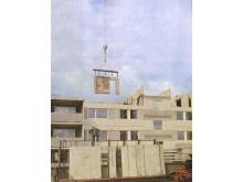 """Välfärdselement. """"Från stommontagearbete"""" ur Råslättsprojektet Projektering - Produktion av Lars Stalin, Jönköping, 1968."""