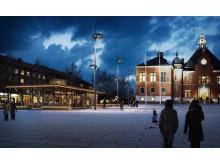 Den nya byggnaden på Rådhustorget. Illustration: Sweco.