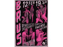 BRUS 12 februari 19.30 - affisch av Anna Ehrlemark, curator Amanda Apetrea
