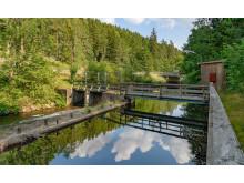 Damm och intag till Visskvarn vattenkraftstation