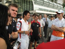 Nishikori, Glock and Hulkenberg at the ATP Promo event at Marina Bay Sands