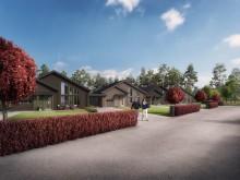 Kv Hällmarken - 3D-bild av gatan och kedjehusen i 1-plan