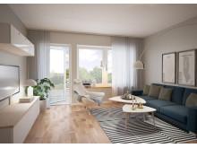 Illustration av vardagsrum i husen på Snöstorps bygata, Halmstad