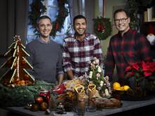 Sebastien Boudet, Roy Fares och Magnus Johansson skapar julstämning i Dessertmästarnas jul  i Kanal 5. Foto: Magnus Selander/Kanal 5