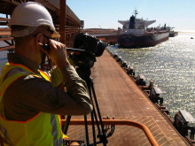 Oscar sizes up a shot at Port Hedland. #Cavotecfilm