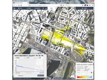 Eksempel på resultat fra InSAR-målinger med web-basert innsynsløsning fra Oslo S-området ifm. et prosjekt for Bane Nor.