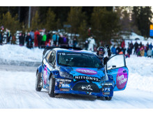 Göransson tog första rallycrossegern när RallyX On Ice gästade Lindvallen