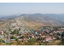 Hakha, huvudstad i Chin State - delstat i västra Burma/Myanmar