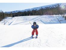 Barn på ski i Stöten
