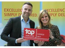 Ted Söderholm, vd, och Lisa Göthberg, HR-chef, på DHL Express