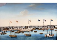 Canton Harbor and Factories with Foreign Flags, c. 1805