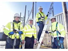 PICTURED L-R  apprentice Stuart Doherty,  Fergus Ewing MSP, apprentice Adam Archibald and Stuart Doherty all apprentice engineers