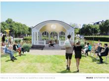 Förslag till ny placering av musikpaviljong Hässleholm. Illustration: mono arkitekter ab