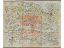 Karta över Stockholm med omgifningar 1906