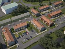 Översiktsillustration av det nya kvarteret BoKlok Krysset i Bålsta.
