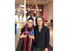 Lydia Cacho and  Maud Edgren Schori  with the material My Human Rights