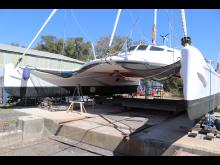 Hi-res image - YANMAR - 52-foot Hitchhiker sailing catamaran, SV X-IT, in the slipway