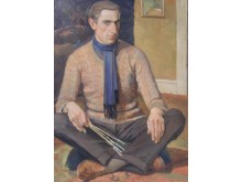Richard Björklund (1897-1974), olja på pannå, 1927