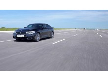BMW 5 Series in testing at the Thatcham Research test track