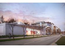 Skiss nya lokaler för polisutbildning i Flemingsberg (exteriör)
