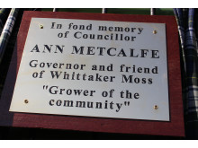 Cllr Metcalfe's memorial plaque, with the epitaph 'Grower of the community'