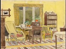 Rum med radio tecknat av Anders Carlsson i Småland.