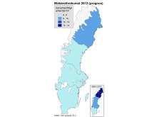 Karta: Prognos för blåbärsförekomst 2012 från SLU