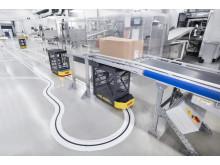 Sporlængden mellem de tolv arbejdsstationer i produktionen og det sted, hvor varerne overføres til conveyorsystemet, er 175 m lang