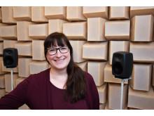 Åsa Skagerstrand i hörsellaboratoriet, Audiologiskt forskningscentrum (2 av 2)