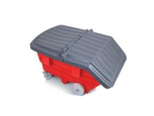 Tippcontainer med lock av plast.
