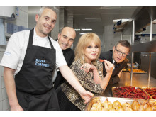 Chef  Gelf Anderson, left, with Compassion in World Farming CEO, Philip Lymbery (2nd from left), Joanna Lumley OBE and Hugh Fearnley-Whittingstall at The Savoy's first ever vegan banquet is prepared. Copyright: BronacMcNeill