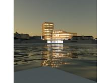 Skiss Niagara, Malmö högskola (exteriör skymning)