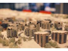 Modell över byggnationen på Uggleberget i Nya Hovås