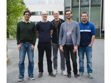 Från vänster till höger: Rahman Amanullah,Jesper Sollerman, Ariel Goobar, Joel Johansson, Francesco Taddia. Foto: Maja Garde
