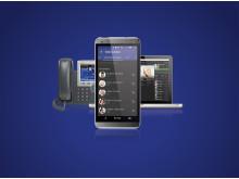 Weblink Unified 2.0 samlingsbild på blå bakgrund
