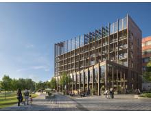 Profilbyggnad i Kista. Bild: Dreem Arkitekter