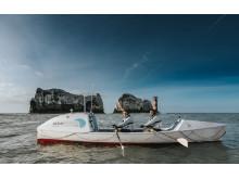 Hi-res image - Ocean Signal - Ocean Signal-sponsored Atlantic charity rowers Jude Massey and Dr Greg Bailey