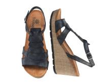 Sandalett på kilklack med linnestruktur