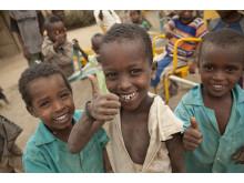 Ahmed, Wadai och Mohammed leker på en förskola i centrala i Etiopien.