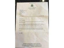 Letter of congratulations from Colchester MP Will Quince to Lois Marsh