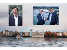 Bilde av Petter Stordalen, Eivind Tangvik og Morten Jakhelln. Under ser du hvor den nye bydelen Ramsalt skal ligge.